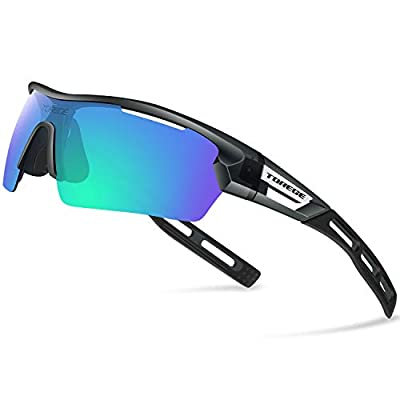 TOREGE Polarized Sports Sunglasses for Men Women Cycling Running Driving TR033(Transparent Gray&Black Tips&Green Lens)