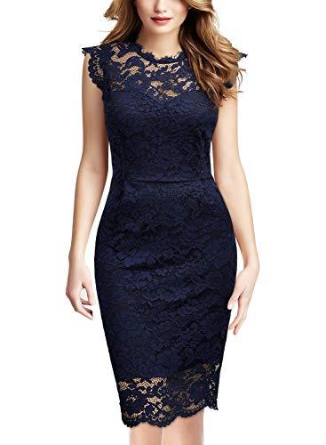 Miusol Women's Retro Floral Lace Slim Evening Cocktail Mini Dress (X-Large, Royal Blue)