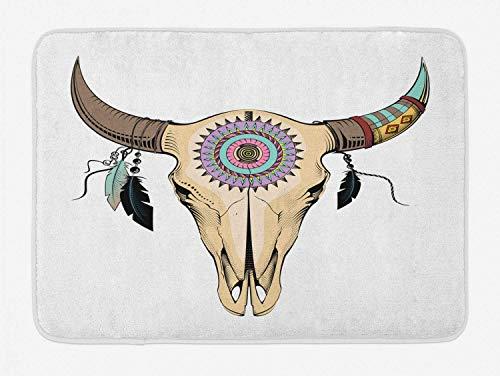 GFFD Estera de baño étnica Composición de Calavera de Toro con círculos Triángulos y Rombos Patrón Felpa Decoración de baño Estera con Respaldo Antideslizante Multicolor