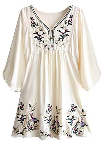 Doballa Damen Boho Tunika Hippie Kleid Gestickt Blumen Mexikanische Bluse, Beige, M