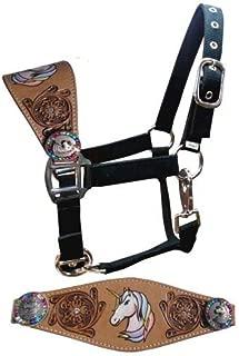 Showman Pony Size Leather Bronc Halter w/Hand Painted Unicorn & Rainbow Crystal Rhinestone Conchos! New Horse TACK!
