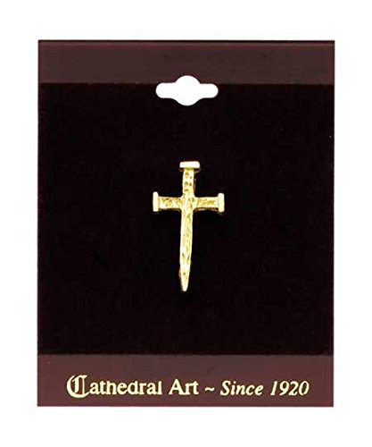 Cathedral Art Nail Cross Inspirational Lapel Pin