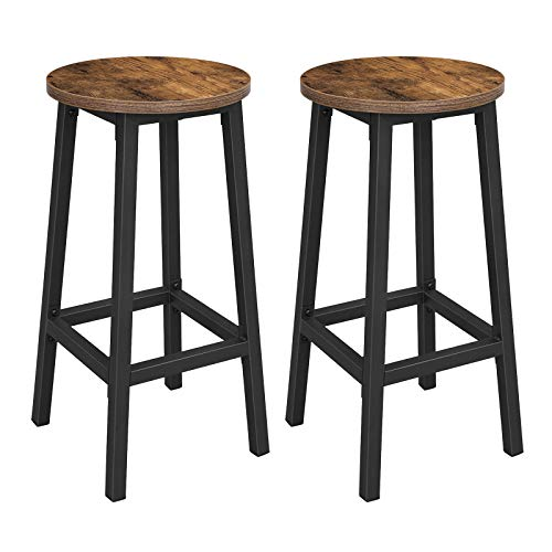 VASAGLE Barhocker, 2er Set Barstühle, Küchenstühle mit stabilem Stahlgestell, Höhe 65 cm, rund, einfache Montage, Industriestil, vintagebraun-schwarz LBC32X