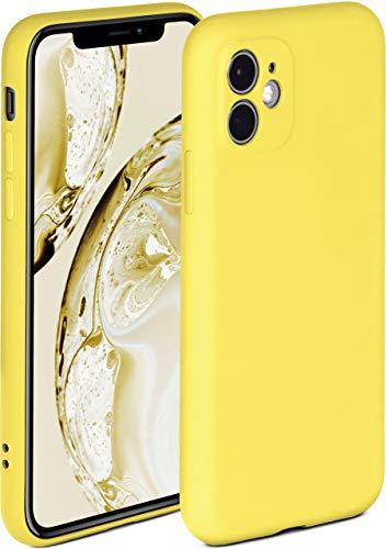 ONEFLOW Cover morbida compatibile con iPhone 11, in silicone, con bordo rialzato per protezione dello schermo, doppio strato, morbida custodia – giallo opaco