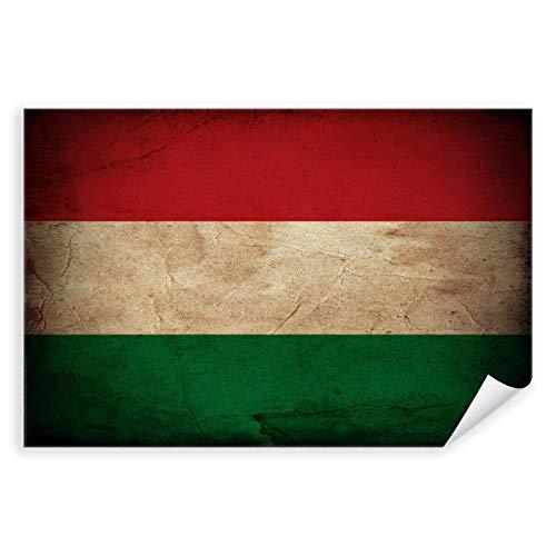 Postereck - 0319 - Vintage Flagge, Fahne Ungarn Budapest - Unterricht Klassenzimmer Schule Wandposter Fotoposter Bilder Wandbild Wandbilder - Leinwand - 100,0 cm x 75,0 cm