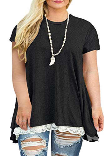 VISLILY Womens Plus Size Casual Short Sleeve Loose Lace Tops Tunic Blouses Black 16W