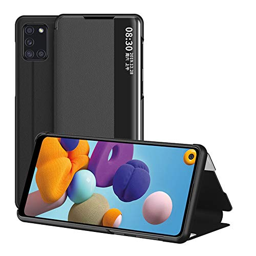 JZ View Side Window Flip Cover Compatible with Samsung Galaxy A21s [Kickstand] Smart Wallet Phone Custodia - Black