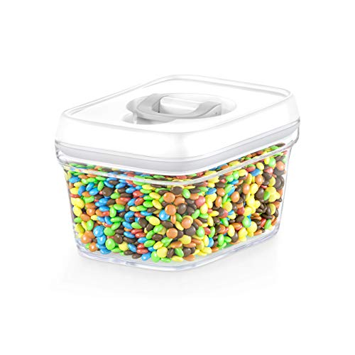 DWËLLZA KITCHEN Airtight Food Storage Container - Best Seal - Pantry Container 0.34 Qt for Spices, Candy, Tea, Baking Soda and More, Clear Plastic BPA-Free, Keeps Food