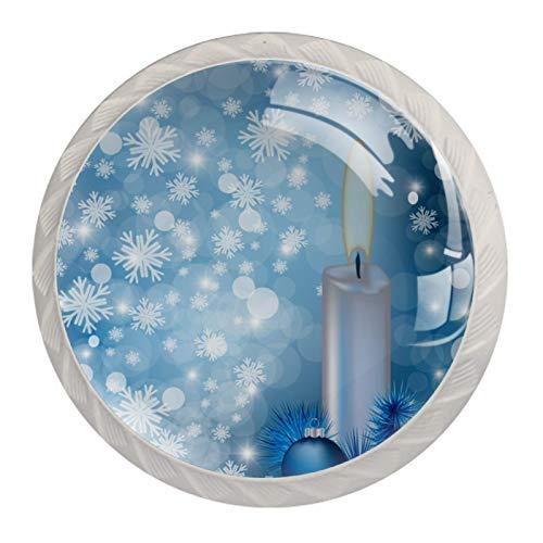 Juego de 4 pomos de cocina para armarios, pomos de cristal para cajones, tiradores de armario, accesorios para cocina, aparador, baño, armario, armario, bola de vela azul de Navidad