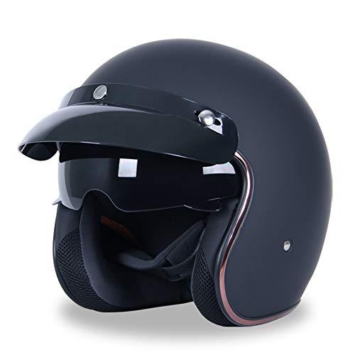 GoolRC Casco de Motocicleta Casco Medio Cubierto Casco de Seguridad para Todas Las Estaciones para Hombres y Mujeres Casco de Vehículo Eléctrico de Doble Lente ✅