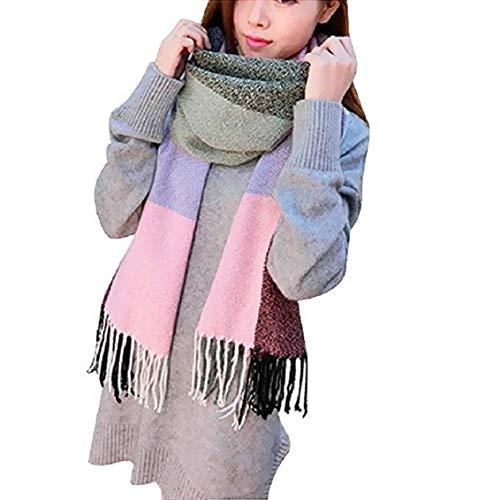 Likela - Bufanda para mujer, diseño de cachemira, gran cuadros, cálida, de tela con purpurina, ideal como regalo para otoño e invierno H 60 cm