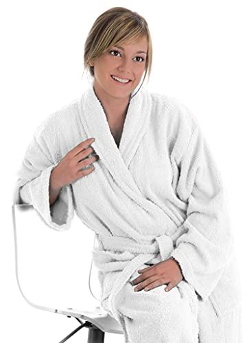 LEBENGOOD Albornoz Unisex para Mujer y Hombre 100% Algodón Rizo Americano 400 gr con Cinturón, Bolsillos, Ducha, Bata Suave, Toalla (M, Blanco )