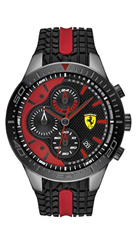 Ferrari Men's RedRev Stainless Steel Quartz Watch with Silicone Strap, Black and Red, 18 (Model: 0830592)