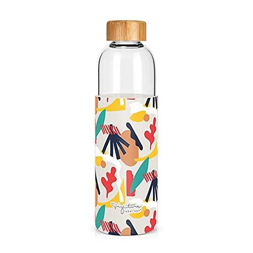 Label - Tartera de cristal y funda de silicona con tapón de bambú, diseño abstracto
