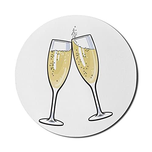 Champagner-Mauspad für Computer, digital erzeugte Illustration von 2 Holiday Toast Bubbly-Getränk, rundes rutschfestes dickes Gummi-modernes Gaming-Mousepad, 8 'rundes, anthrazitgraues blasses Kamel