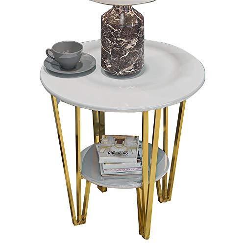 FUFU Mesas auxiliares Mesa auxiliar, mesa de extremo 2 niveles de mesa redonda con marco de metal robusto, al lado de la mesa estable para la sala de estar dormitorio dormitorio nightstand bastidor de