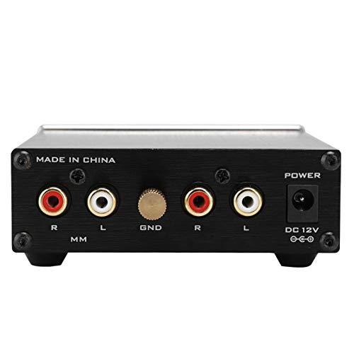 Audio Box Stereoljudförstärkare HiFi Stereo Audio Amp Aluminiumlegering Phono Förförstärkare Guldpläterad uttag för hemmabio Ljudsystem(EU Plug)