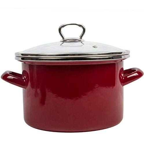 GF Stock Pots Enameled Cooking Pot with Lid. Durable Enamelware Red Color Capacity 5 Qt MG025