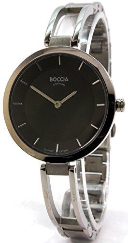 Boccia Damen Analog Quarz Uhr mit Titan Armband 3264-02