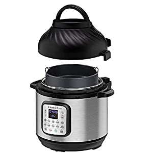 Instant Pot Duo Crisp + Air Fryer 8L Multicooker 11-in-1 Pressure Cooks, sautés, steams, Slow Cooks, Sous vides, Warms, air Fries, roasts, Bakes, Broil and dehydrates.