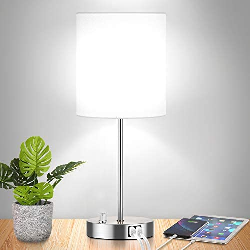 Fully Dimmable Table Lamp with USB Ports 60W Equvi 5000K Daylight Edison Bulb Included Stepless product image