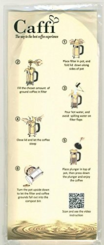 Caffi Paper Coffee Filters for 4 to 8 Cup French Press - 100 Pack