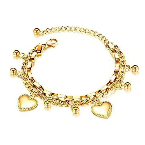 YFZCLYZAXET Pulseras Brazalete Joyería Mujer Pulseras con Dijes De Corazón De Acero Inoxidable De Doble Capa De Moda para Mujer Jewelry-Dourado