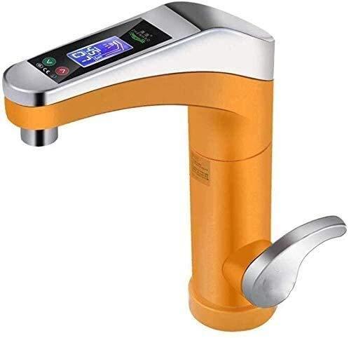 UOMUN Grifo eléctrico plástico LED indicador de Temperatura del Grifo del Calentador para Cocina y baño de 120 Grados de rotación de Plata (Color : Yellow)