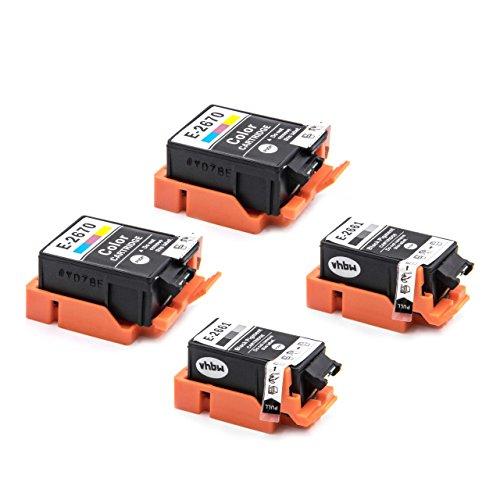 vhbw Set de 4X Cartucho de Impresora, Cartucho de Tinta Negro, Color Compatible con Epson reemplaza T266, T267; 2X Negro y 2X Color
