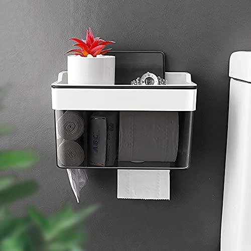 Sxcespp Estante de pared de baño multifuncional, Toallero de papel higiénico impermeable no poroso, Caja de almacenamiento de bolsa de basura de papel higiénico, Artículos domésticos diarios, Cajas de