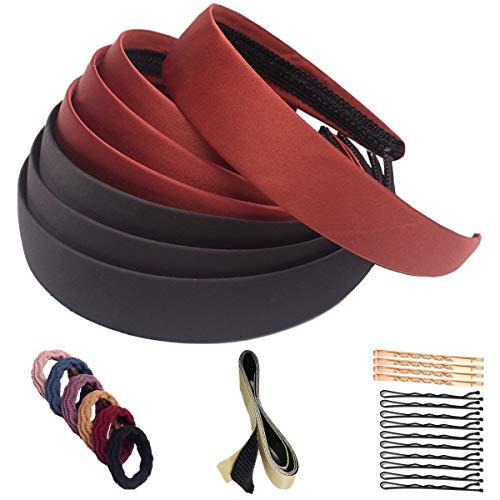 SUKAJIA Satin Hard Headbands for Women and Girls, No Slip Fashion Head Bands DIY Hair Accessories 1.1 Inch (black+deep coffee)