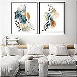 Cuadros Decoracion Pasillo Salon Grandes 50x70cm x2 Piezas SIN MarcoCartel Grande del Arte de la Lona de la Forma de la Acuarela del óxido Azul AbstractoCuadro dormitorios Juveniles Modernos