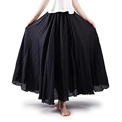 OCHENTA Women's Bohemian Style Elastic Waist Band Cotton Long Maxi Skirt