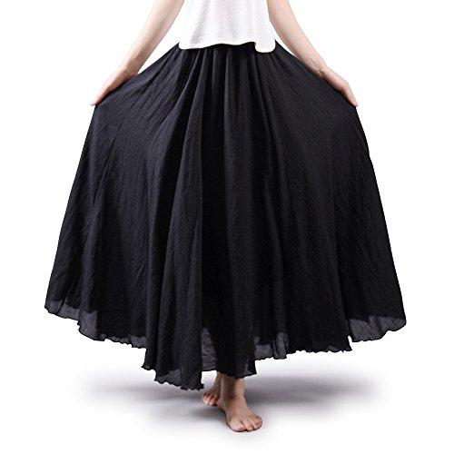 Falda de algodón elástica Ochenta para mujer, estilo bohemio, con cintura larga, vestido largo Negro negro 95 cm
