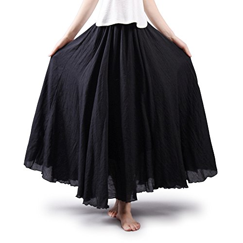 OCHENTA Black Steampunk Skirts for Women 85CM Length