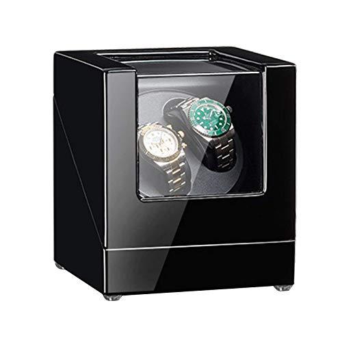 LLSS Caja enrolladora de Relojes Dobles para Reloj automático Motor silencioso Fuente de alimentación Dual 5 Modos de rotación Pintura de Piano/Acabado de Cuero Accesorios