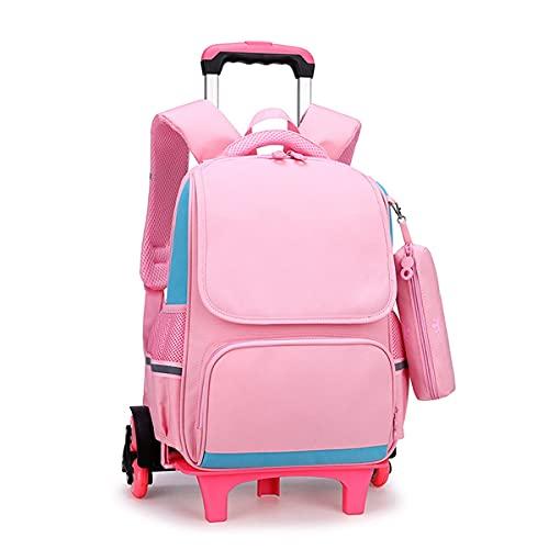 YUTCRE Mochila con Ruedas Niños, Mochila Niñas con Ruedas Estudiante Trolley de Ruedas para Viajar para Estuche (Color : Pink, Size : 41 * 28 * 15cm)