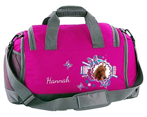 Mein Zwergenland Multi Sporttasche Kinder mit Schuhfach und Feuchtfach Coole Sporttasche Pferdekopf als Aufdruck Farbe Pink 41 L Stauraum die perfekte Sporttasche für Kinder