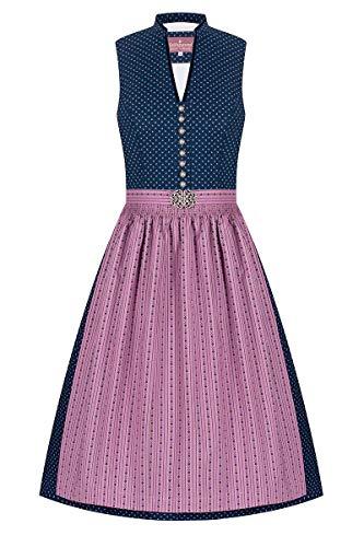 Lieblingsgwand Midi Dirndl 65cm dunkelblau Altrosa Gemustert Emma 007332, traditionelles Waschdirndl mit V-Ausschnitt und schmalem Stehkragen, verzierte Trachtenknöpfe, antike Broschenschließe 34