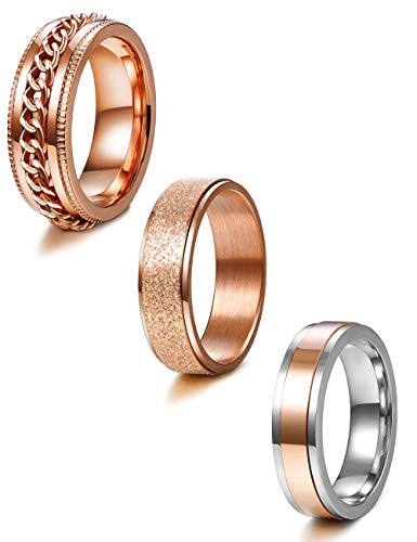 Jstyle 3Pcs Stainless Steel Fidget Band Rings for Women Mens Cool Spinner Rings 6/8MM Wide Wedding Pormise Band Ring Set Rose Gold …