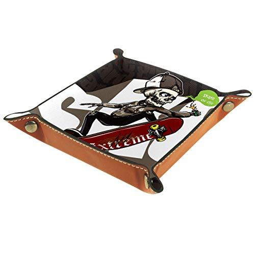 Kleine Aufbewahrungsbox,Herren-Valet-Tablett,Hip-Hop-Skateboard mit Schädelreiten (11),Leder Catchall Organizer für Coin Box Key Schmuck