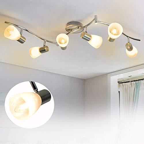 Depuley 6 Flammig DeckenStrahler Wohnzimmer mit E14 Fassung Schwenkbar (Glühbirne nicht inkl.), LED Moderne Deckenleuchten Warmweiß, Arm 47.64in für Büro Esszimmer Küche Schlafzimmer Studio