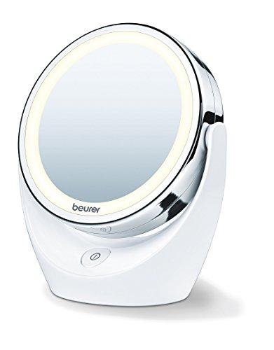 Beurer Bs49 - Espejo Maquillaje con Luz Led Brillante (12 Leds), Espejo Pivotante, 2 Espejos en 1, 1 Cara Vista Normal, Uno con Aumento X 5, 17,5 X 19 X 10 cm, Blanco con Acabados Cromados