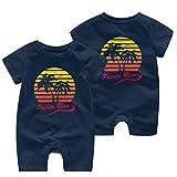 Monos sin Mangas para bebé Puerto Rico 80s Puesta de Sol Tropical Niños recién Nacidos Mono de Manga Corta Mono Ropa de bebé 0-24 Meses