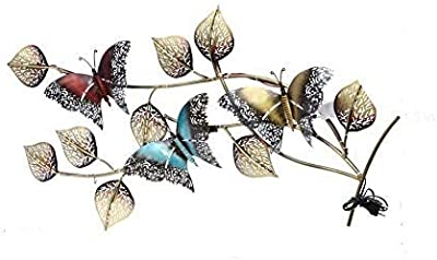 Collectible India Metal Beautiful Multicolor 3D Butterfly Design with Back LED Lights Wall Mounted & Hanging Modern Art Leaf Sculpture Home Office Artwork(Size 39 x 18 Inches)