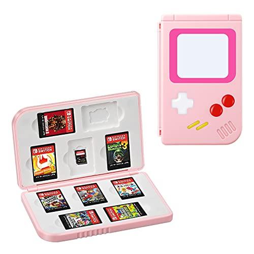 KENOBEE Funda de Tarjetas de Juegos para Nintendo Switch & Switch Lite, 10 Cartuchos Organizador Estuche para Tarjetas de Juego y Micro SD, Portátil Delgado Game Cards Borsa, (Rosa)