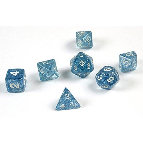 Shibby 7 cubi policedrici glitterati per giochi di ruolo e tablet in blu, con sacchetto, 60014323