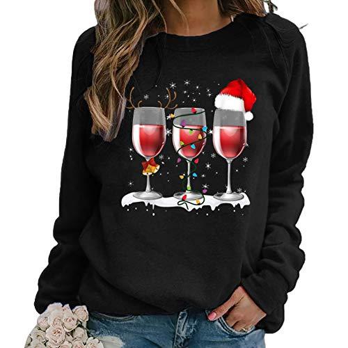 newhashiqi Damen-Tops, Weihnachts-Langarm-Weinglas-Druck, Herbst-Winter-Bluse,...