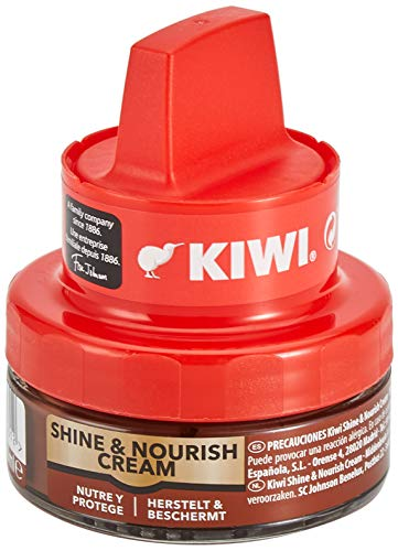 KIWI Crema abrillantadora con aplicador, Nutre y Protege, para calzado Marrón medio, 50ml