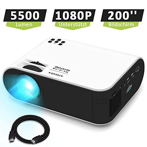 """Mini Beamer Full HD, WayGoal Native 720P 5500 Lumen Video Projektor tragbarer Heimkino Beamer, 1080P Unterstützt und 55000 St. LED, 200"""" Display Kompatibel mit USB / HD / ST/ AV / VGA/IOS/Android"""